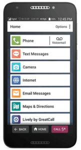 Screen of Jitterbug Smart2 phone